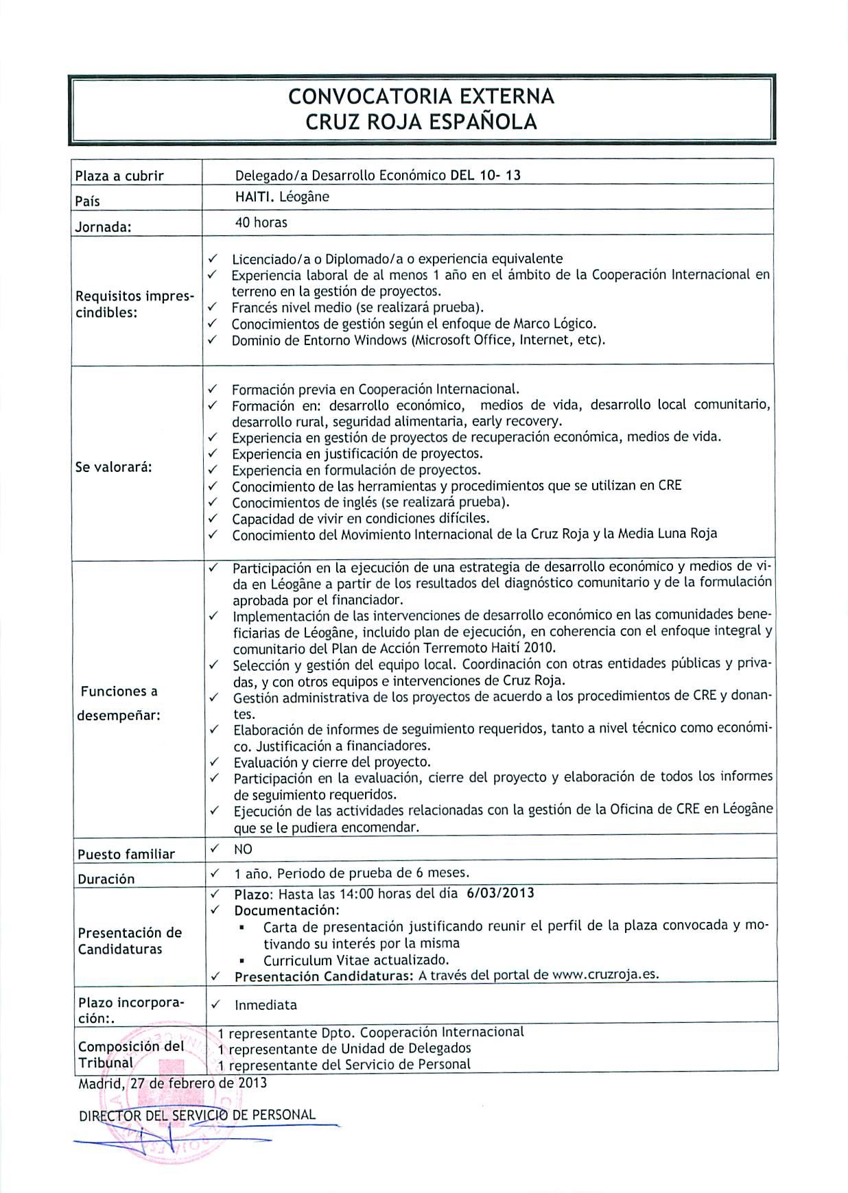 CONVOCATORIAS DE EMPLEO CRUZ ROJA INTERNACIONAL; HAITI Y BURUNDI ...