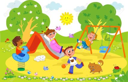 9707979-Animaci-n-dibujo-animado-de-ilustraci-n-de-ni-os-jugando-juntos-en-el-parque--Foto-de-archivo