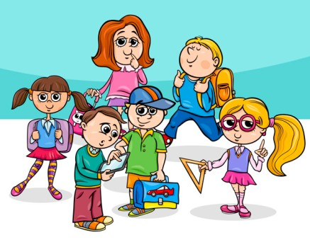 cartoon elementary school children group
